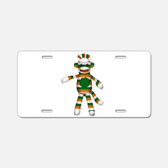 Irish Sock Monkey Aluminum License Plate
