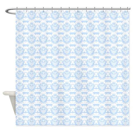 white damask on light blue shower curtain by showercurtainsworld. Black Bedroom Furniture Sets. Home Design Ideas