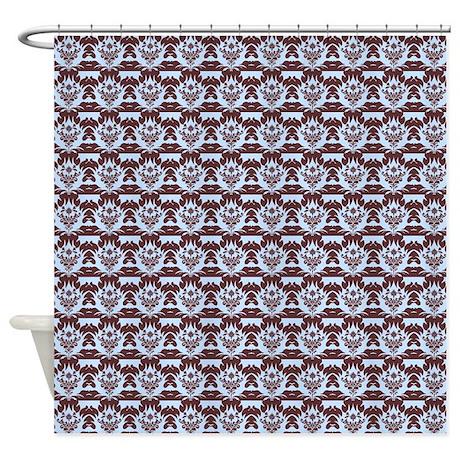 brown damask on light blue shower curtain by showercurtainsworld. Black Bedroom Furniture Sets. Home Design Ideas