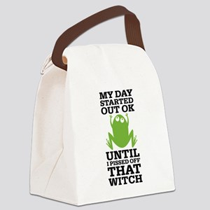 Funny Frog Mean Witch Canvas Lunch Bag