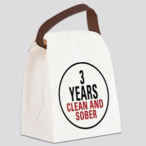 3 Years Clean and Sober Canvas Lunch Bag
