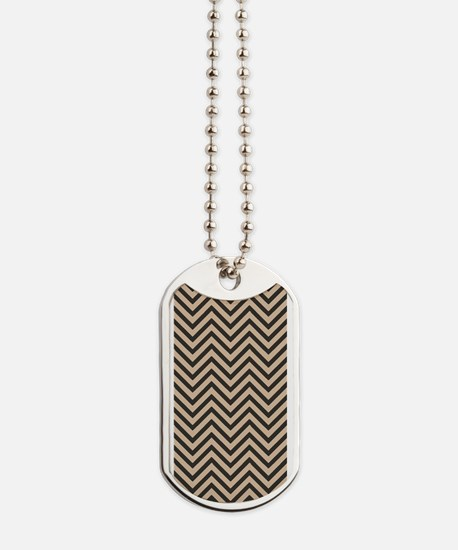 Dark Brown and Tan Chevron Pattern 1 Dog Tags