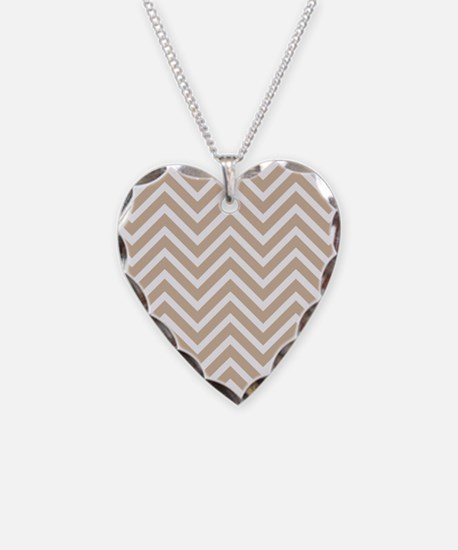 Tan and White Chevron Pattern 3 Necklace