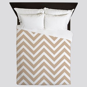 Tan and White Chevron Pattern 3 Queen Duvet