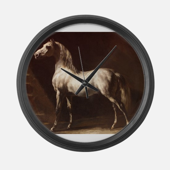 White Arabian Horse Large Wall Clock
