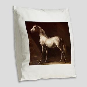White Arabian Horse Burlap Throw Pillow