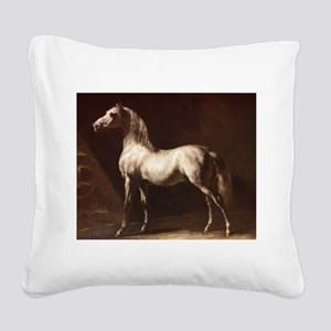 White Arabian Horse Square Canvas Pillow