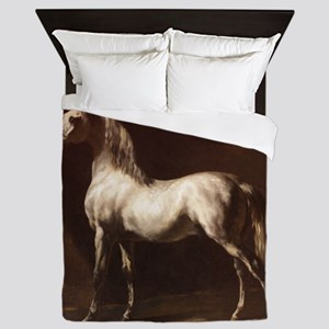 White Arabian Horse Queen Duvet