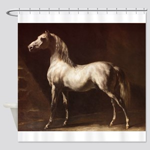 White Arabian Horse Shower Curtain