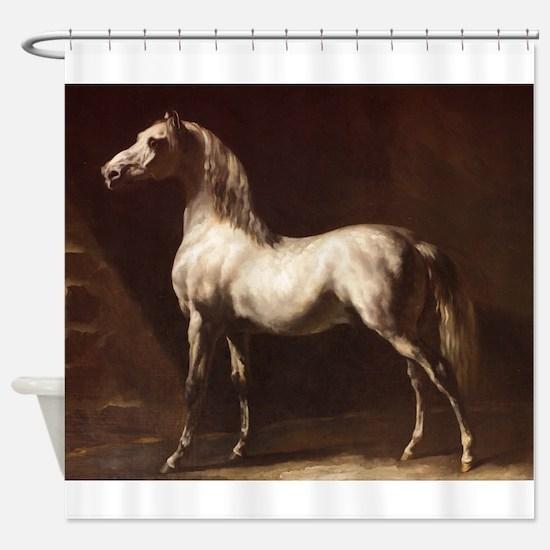 White Arabian Horse Shower Curtain