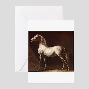 White Arabian Horse Greeting Cards
