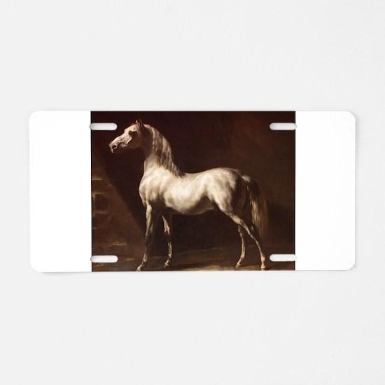 White Arabian Horse Aluminum License Plate