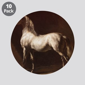 "White Arabian Horse 3.5"" Button (10 pack)"