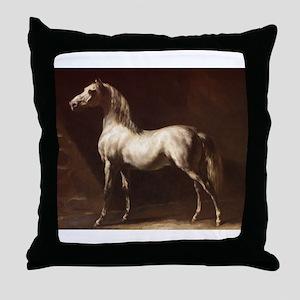 White Arabian Horse Throw Pillow
