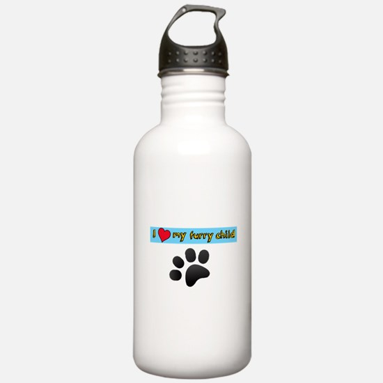 I love my furry child Water Bottle