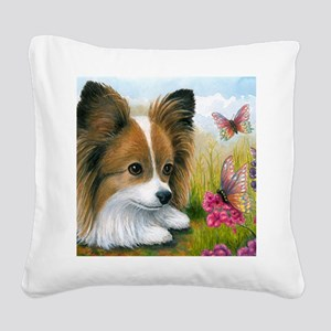 Dog 123 Papillon Butterfly Square Canvas Pillow