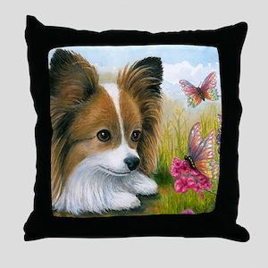 Dog 123 Papillon Butterfly Throw Pillow
