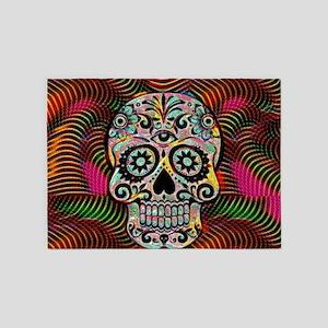 Funky glamorous skull 5'x7'Area Rug