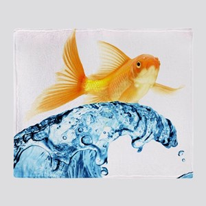 Surfing Goldfish Throw Blanket