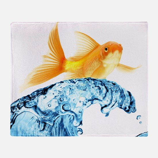 Surfing Goldfish Throw Blanket