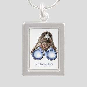 Birdwatcher Bird Watchin Silver Portrait Necklace