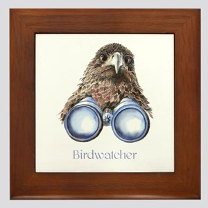 Birdwatcher Bird Watching You Humor Framed Tile