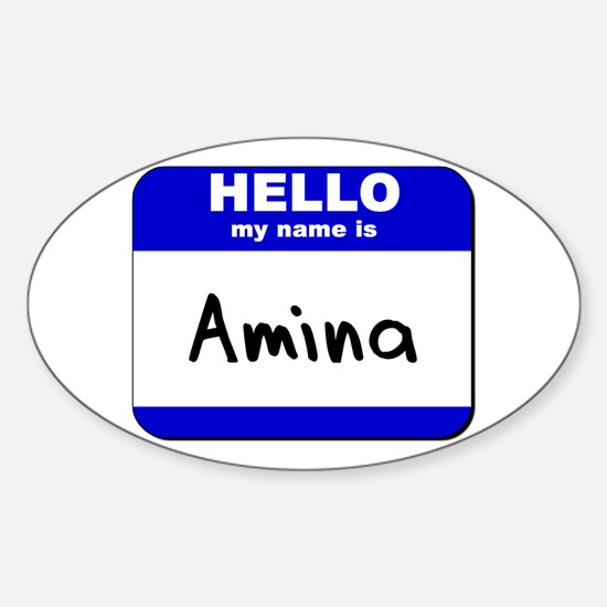 hello my name is amina Oval Decal