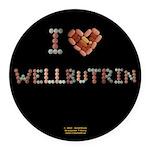 I Heart Wellbutrin Button Round Car Magnet