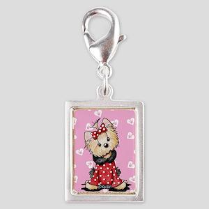 Valentine Yorkie Girl Silver Portrait Charm