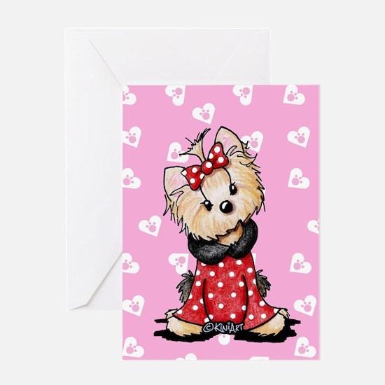 Valentine Yorkie Girl Greeting Card