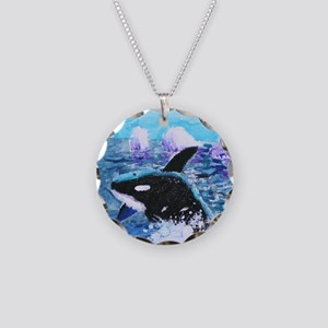 Killer Whale Painting Necklace Circle Charm