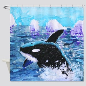 Killer Whale Painting Shower Curtain