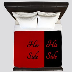 RED HER SIDE\\\HIS SIDE King Duvet