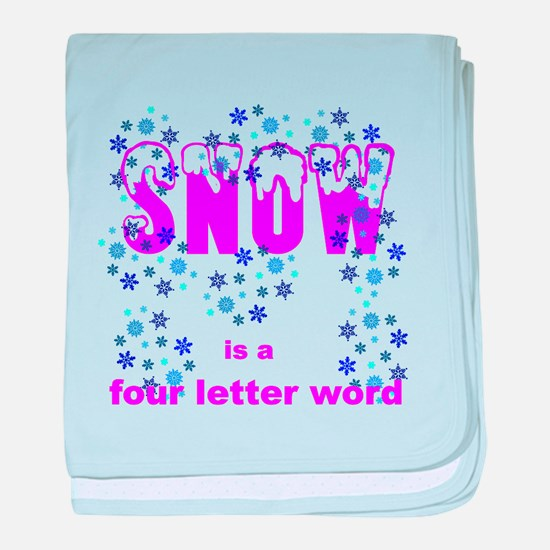 Snow - four letter word baby blanket