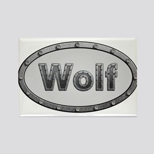 Wolf Metal Oval Magnets
