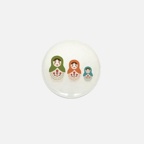 Matryoshka Russian Dolls Mini Button