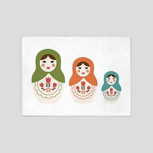 Matryoshka Russian Dolls 5'x7'Area Rug