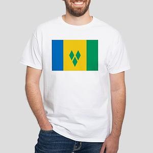 St Vincent Grenadines Flag White T-Shirt