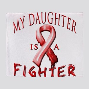 My Daughter Is A Fighter Red Throw Blanket