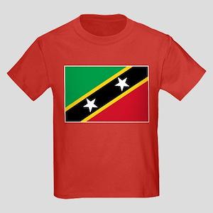 St Kitts Nevis Flag Kids Dark T-Shirt