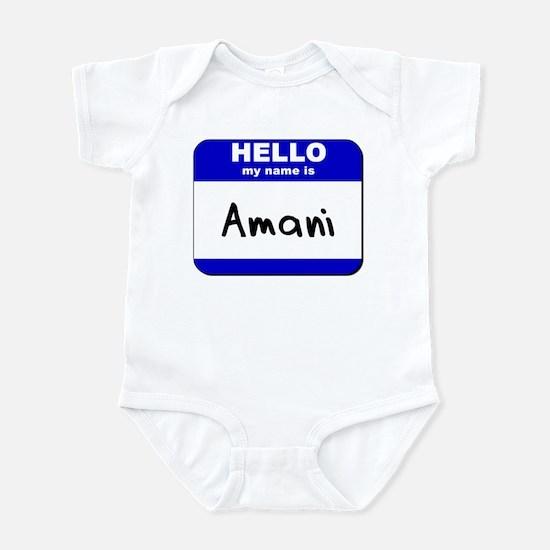 hello my name is amani  Infant Bodysuit