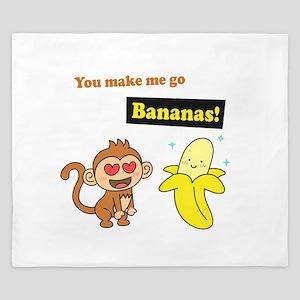 You make me go Bananas, Cute Love Humor King Duvet