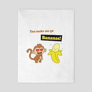 You make me go Bananas, Cute Love Humor Twin Duvet