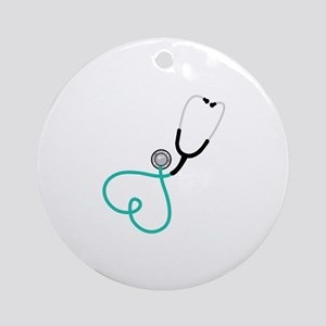 Heart Stethoscope Ornament (Round)