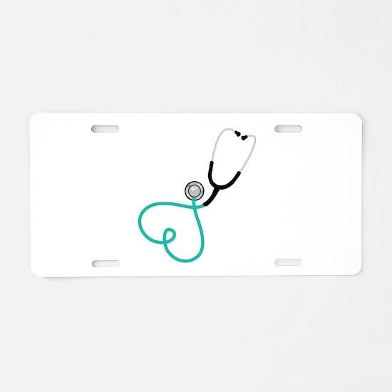 Heart Stethoscope Aluminum License Plate