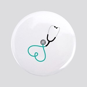 "Heart Stethoscope 3.5"" Button"