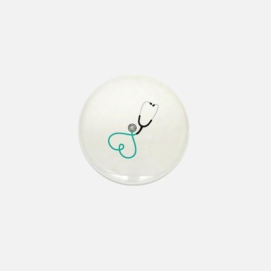 Heart Stethoscope Mini Button