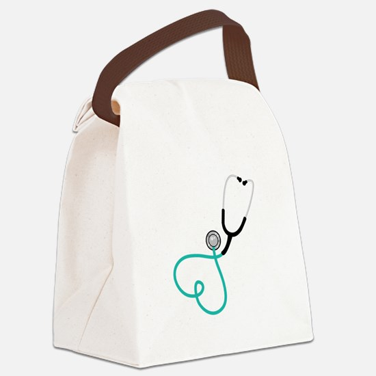 Heart Stethoscope Canvas Lunch Bag