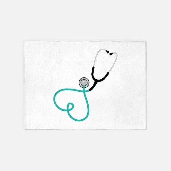 Heart Stethoscope 5'x7'Area Rug