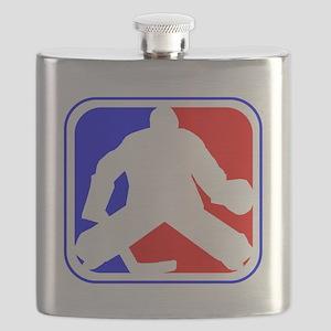 Hockey Goalie League Logo Flask